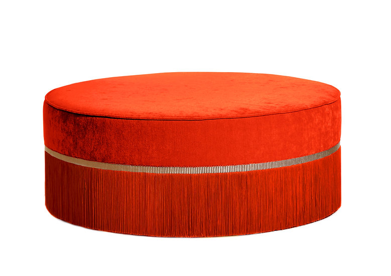 PLAIN ORANGE LARGE ROUND POUF diameter: 95 cm