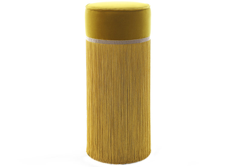 PLAIN YELLOW BAR (HIGH) POUF diameter: 30 cm