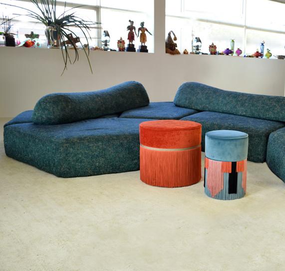 Geo tie diam 30 cm blue + 50 cm orange p