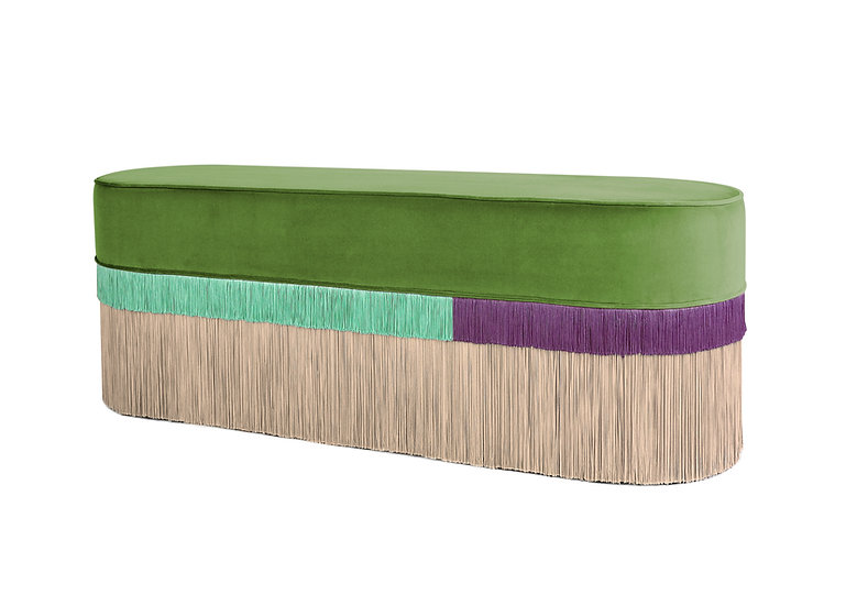 PLAIN LINE LONG OVAL GREEN BENCH length: 130 cm