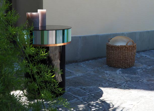 Green ceramic tile table diameter: 42 cm height: 51.5 cm