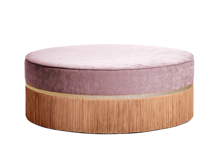 BI-COLOUR ROSE LARGE ROUND POUF diameter: 95 cm