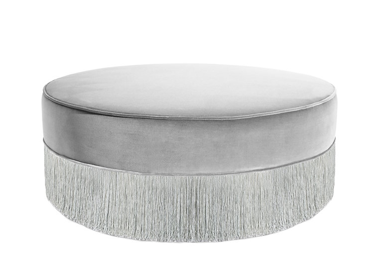 LIGHT GRAY WITH SILVER  POUF Diameter 95