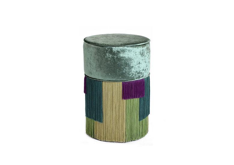 GEO STRIPE GREEN POUF/OTTOMAN diameter: 30 cm