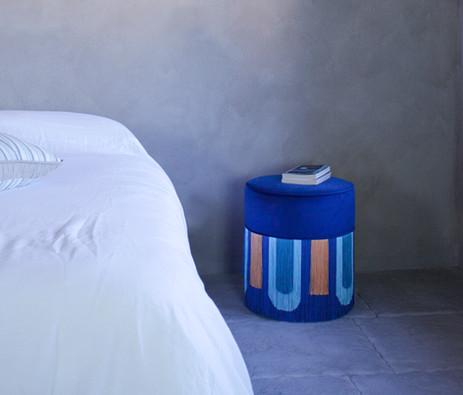 Blue Deco' pouf diameter: 40 cm