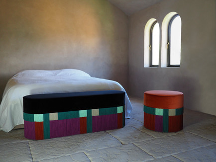 Wein Collection bench and pouf