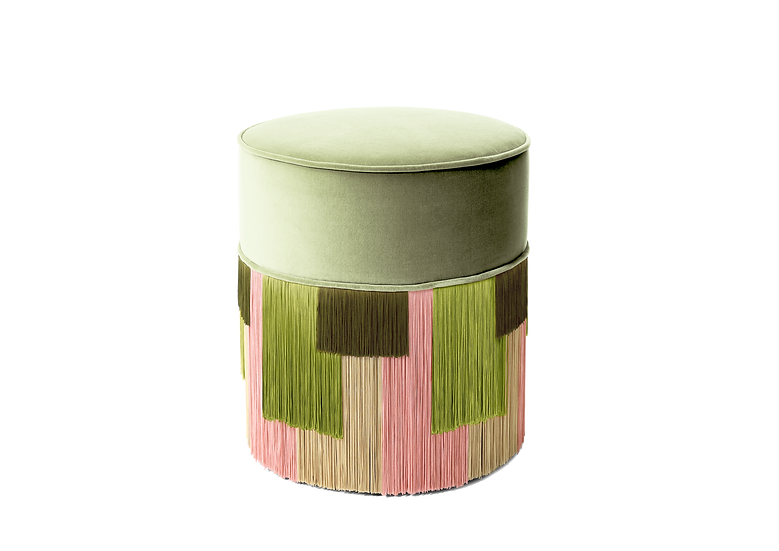 GEO STRIPE GREEN POUF diameter: 40 cm