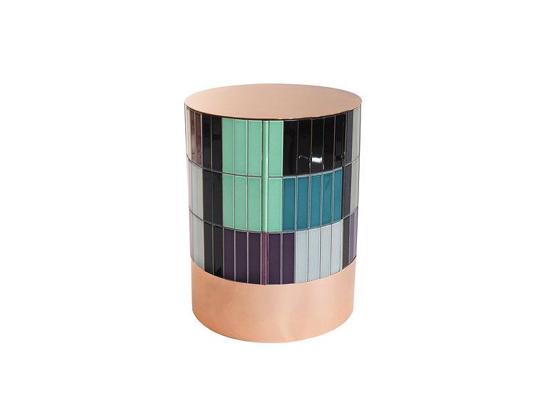 COPPER CERAMIC TILES TABLE diameter: 32 cm