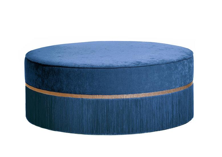 PLAIN BLUE LARGE ROUND POUF diameter: 95 cm