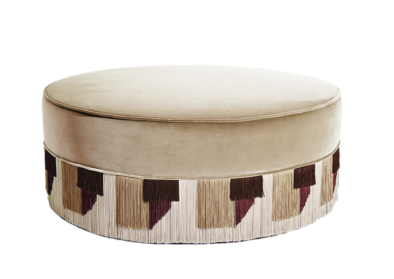 TIE BEIGE LARGE ROUND POUF diameter: 95 cm