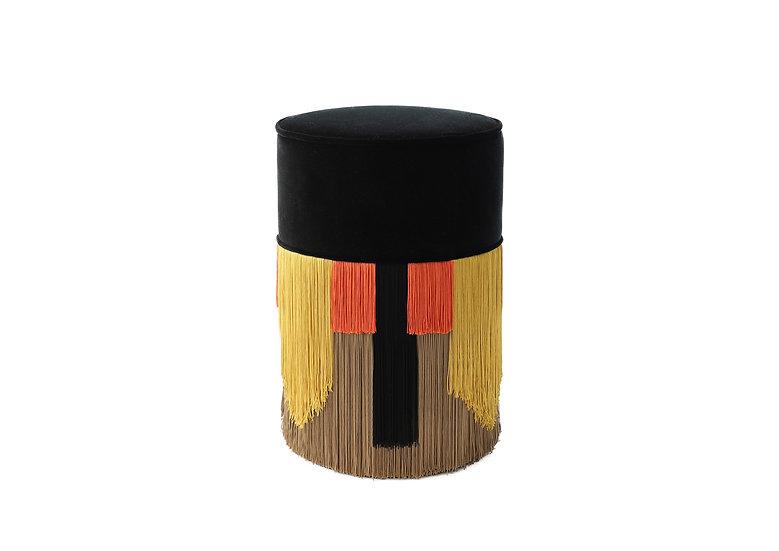 GEO TIE BLACK POUF/ OTTOMAN diameter: 30 cm