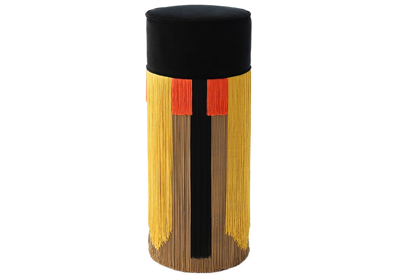 GEO TIE BLACK BAR (HIGH) POUF diameter: 30 cm