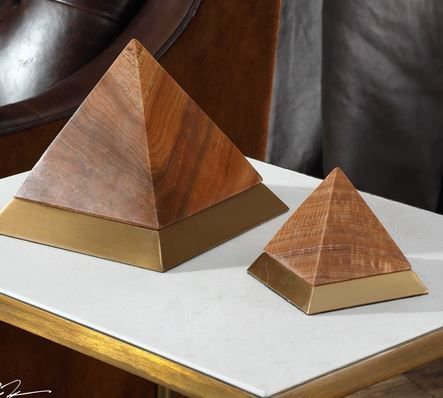 Brown Marble + Brass Pyramid Lg
