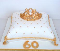 Gold/White Tiara Cushion Cake