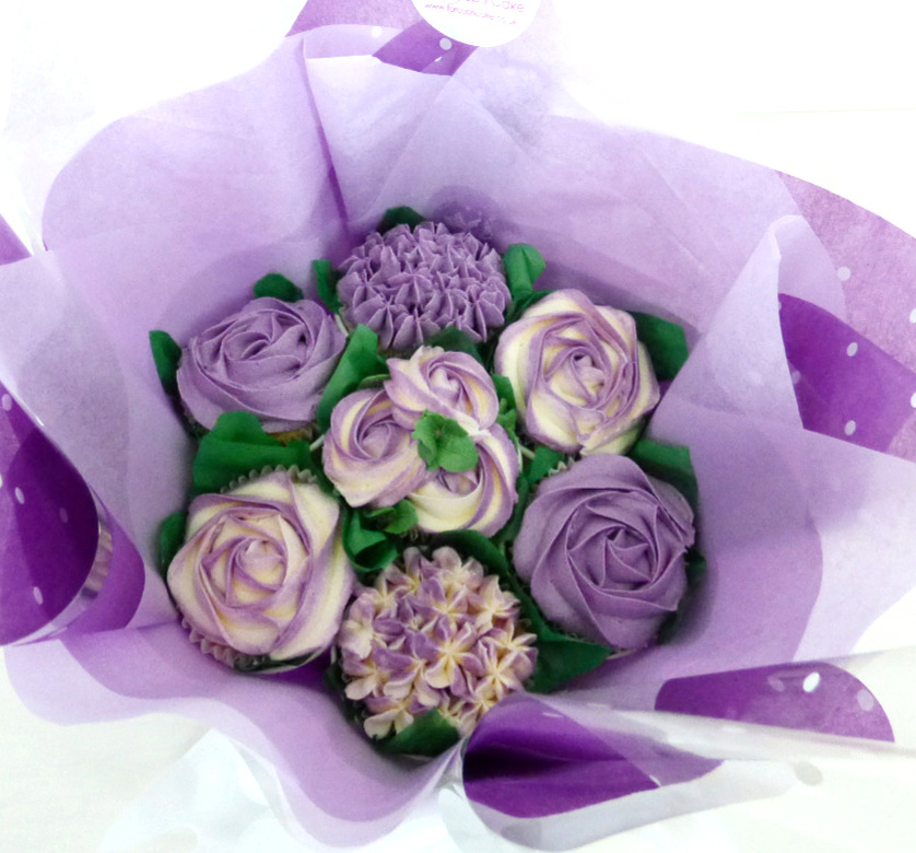 Smaill Purple Cupcake Bouquet