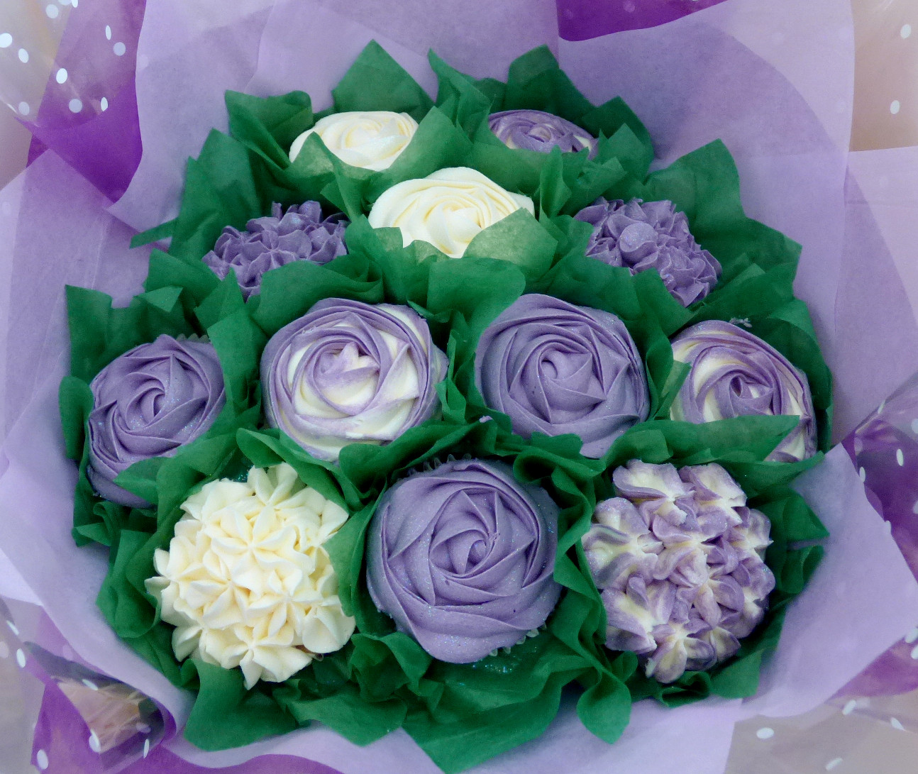 Purple & White Large Cupcake Bouquet