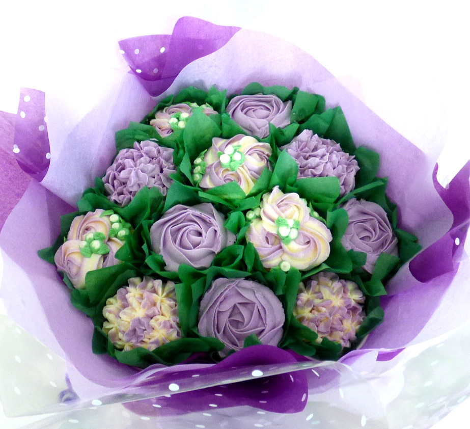 Large Purple & White Cupcake Bouquet