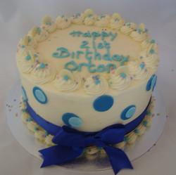 Fondant Decorations on Red Velvet Birthday Cake