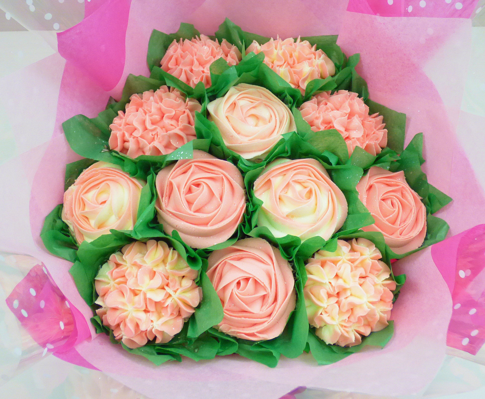 Baby Pink & White Large Cupcake Bouquet