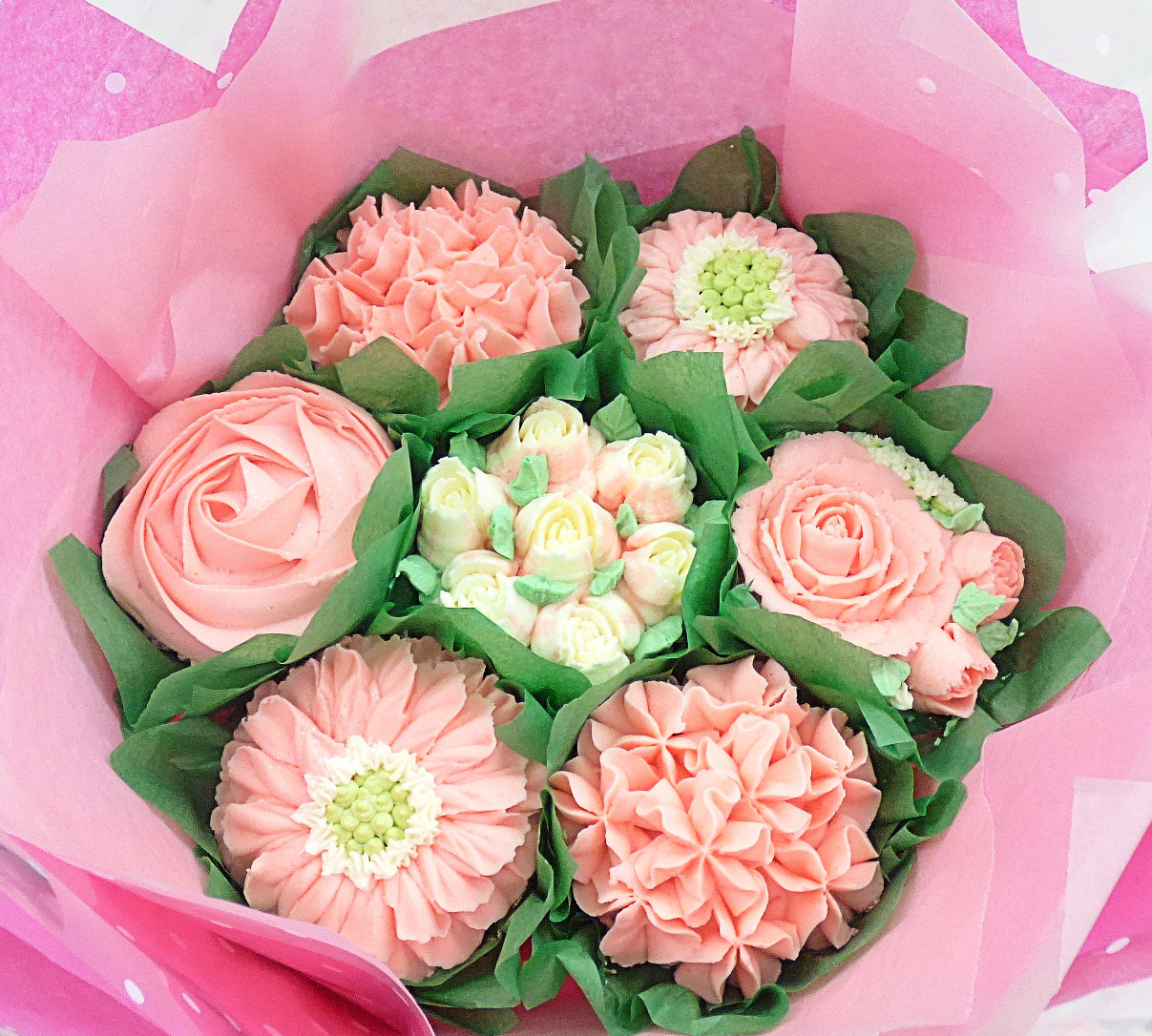 Baby Pink & White Small Summertime Cupcake Bouquet