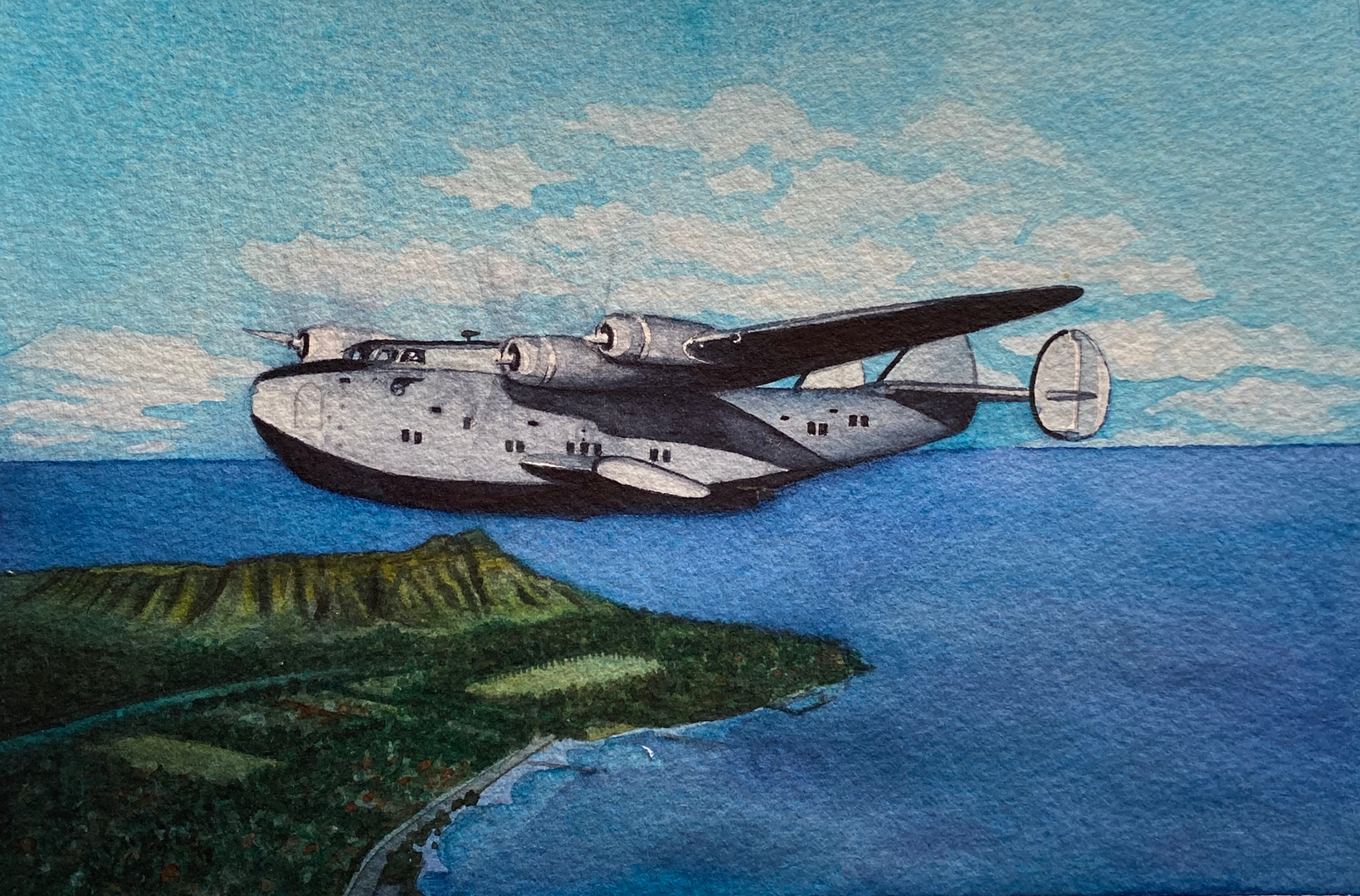 Boeing 314 Clipper over Honolulu (Watercolor)