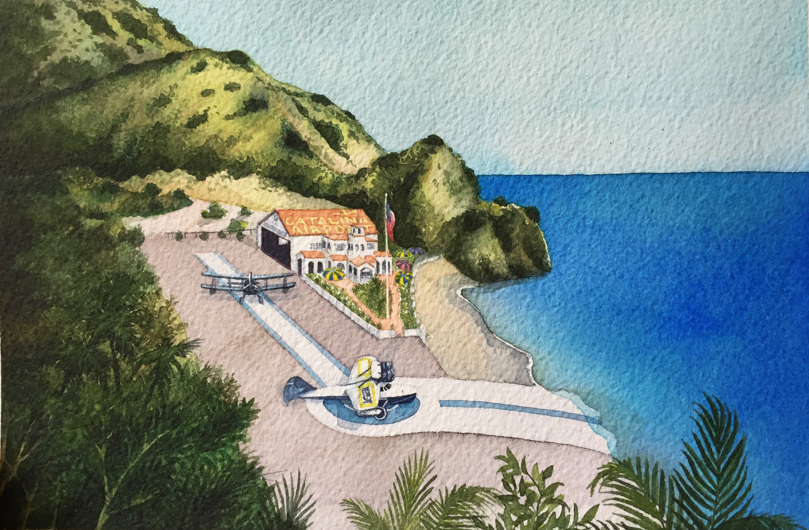 Santa Catalina Island Airport, 1930s (Watercolor)