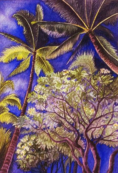 Dusk on Kalakaua Avenue, Waikiki (Watercolor)