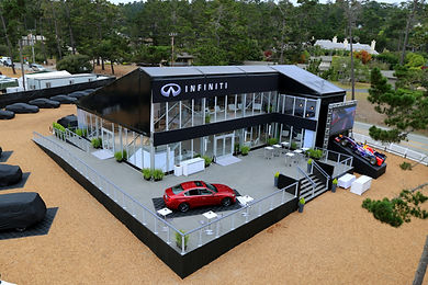 Unique Temporary Structure, Car Tour with Flooring Carpet Steps and Glass Custom Golf Course