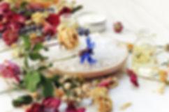 Various dried medicinal herbs, sea salt,
