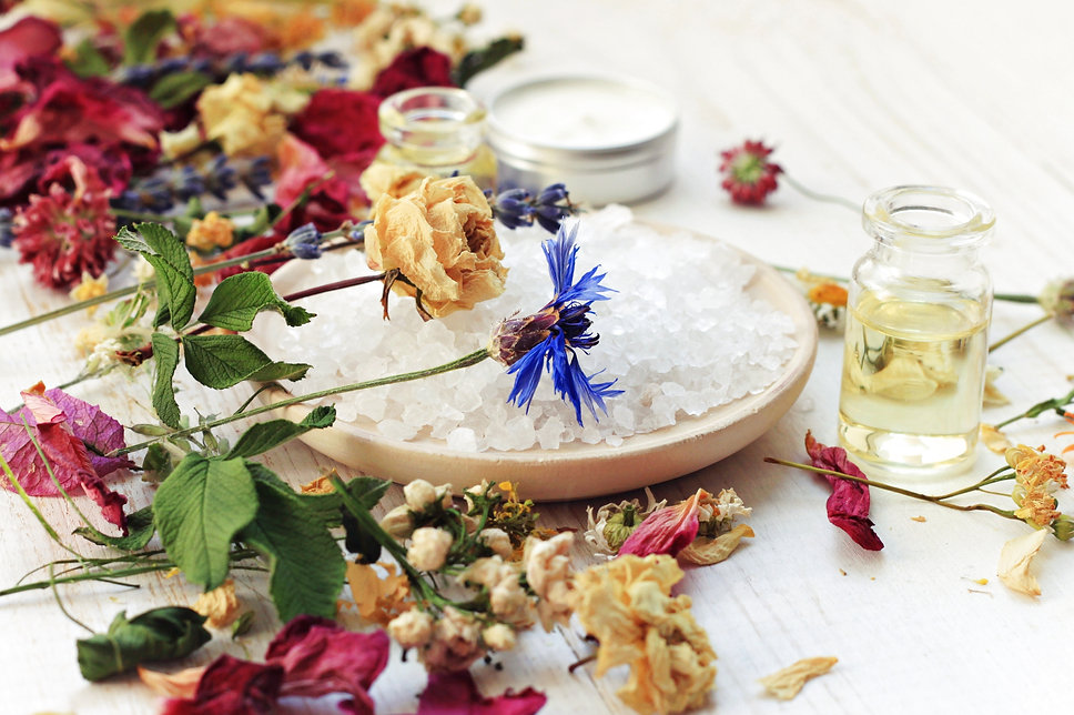 Various dried medicinal herbs, sea salt,