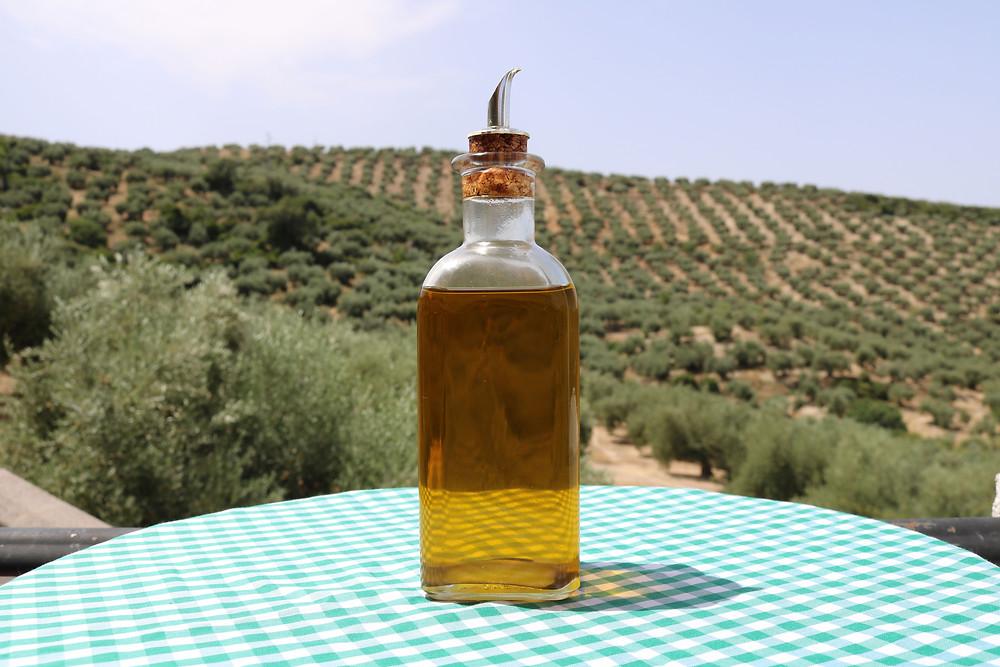 Vidro de azeite em cima de uma mesa com toalha xadrez e um plano de fundo com paisagem verde.