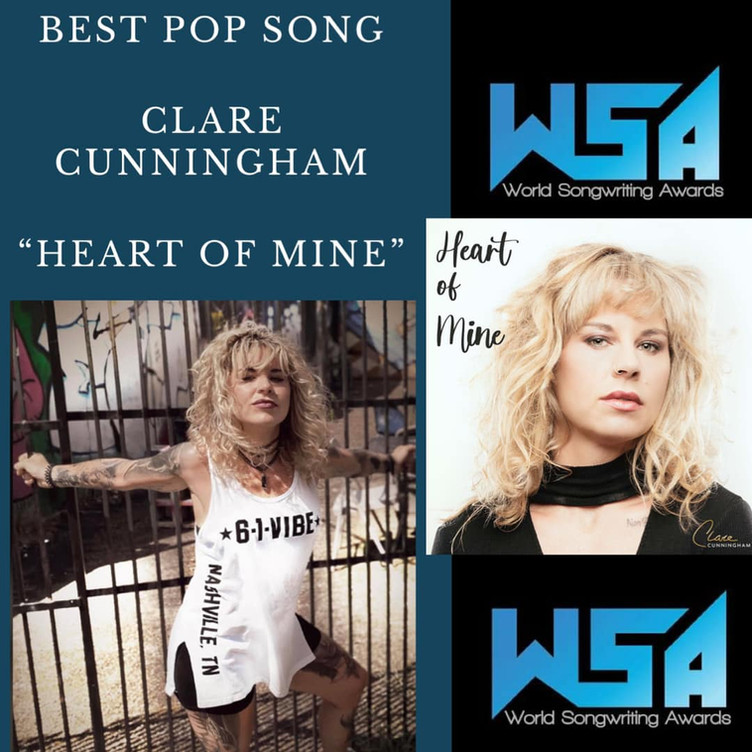 Clare's song 'Heart of Mine' just took home 'POP SONG OF THE YEAR' at the World Songwriting Awards!