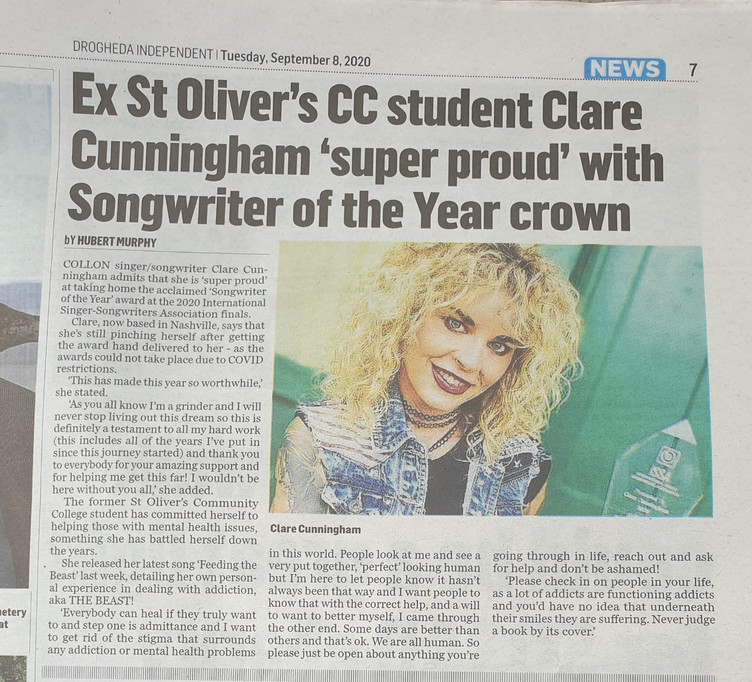 Local newspaper in Ireland supporting Clare's latest songwriter award win and supports her lates