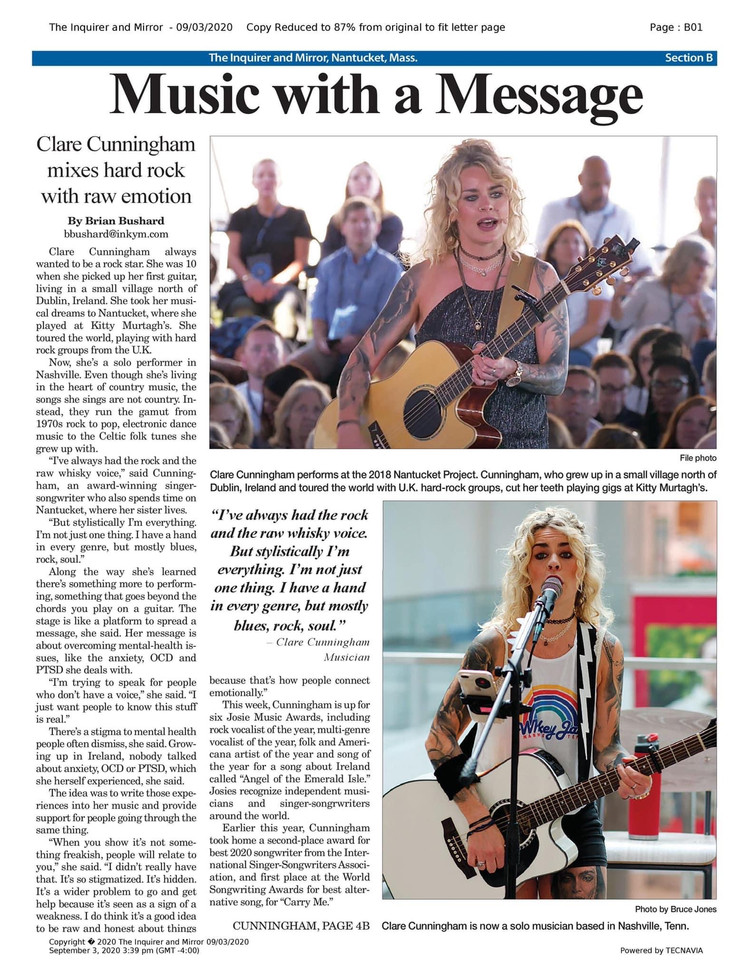 The Inquirer and Mirror (Nantucket) do a write up on Clare.