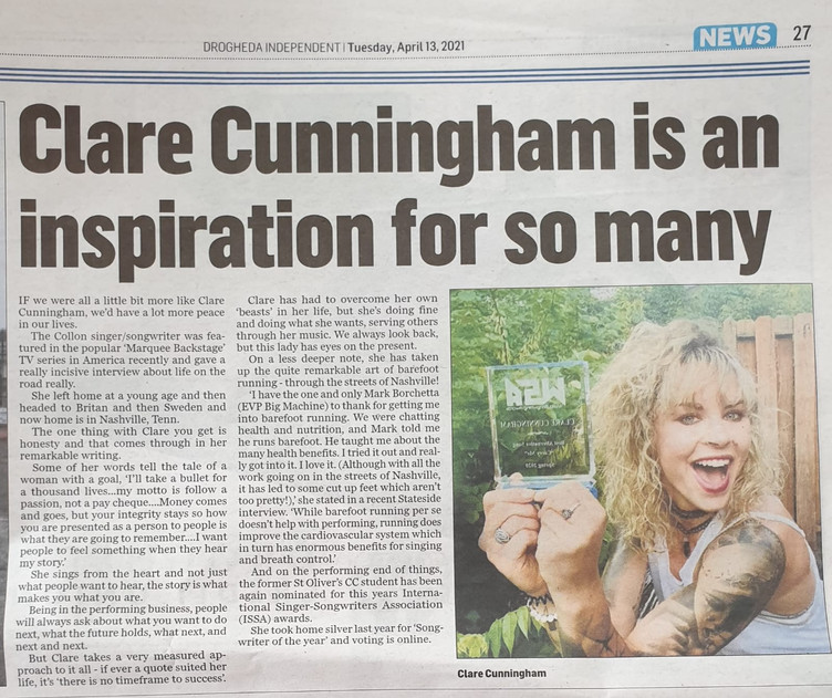 Clare Cunningham has continued support from her home country in Ireland
