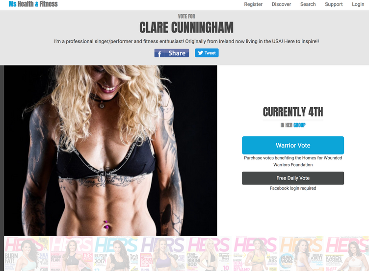 HELP CLARE FEATURE ON THE FRONT COVER OF MS HEALTH AND FITNESS MAGAZINE - IN HER PURSUIT TO RAISE AW
