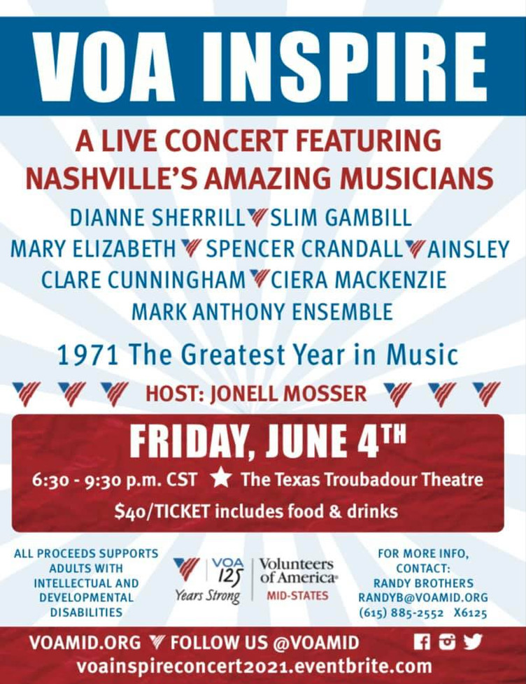 Clare is performing as part of this years fundraiser for VOA (Volunteers of America)
