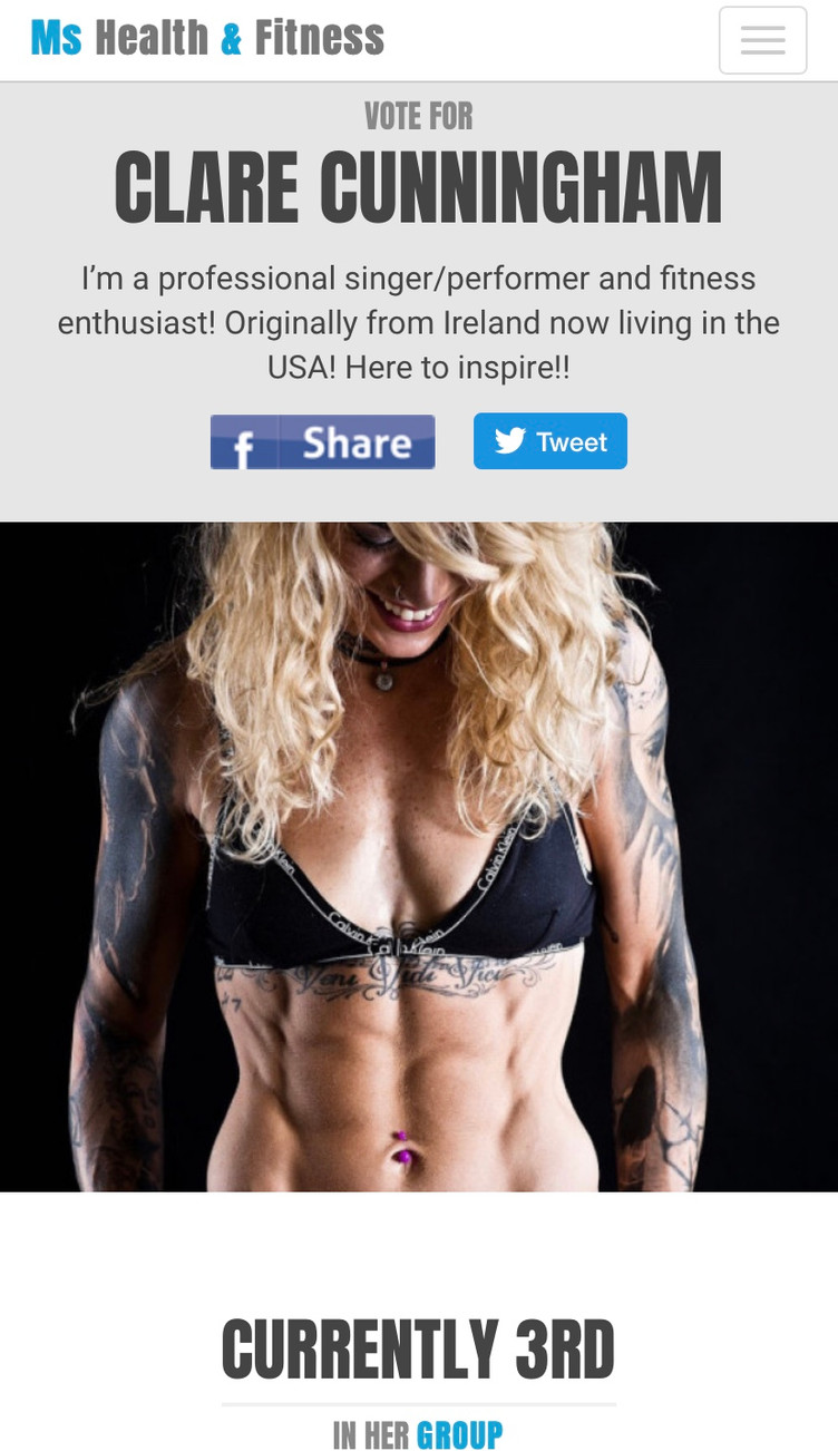 Help Clare win to be on the cover of 'Ms Health and Fitness' magazine