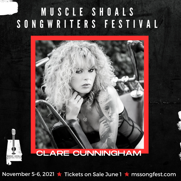 Clare is announced as a performer at 2021 'Muscle  Shoals Songwriting Festival, Nov 5-6