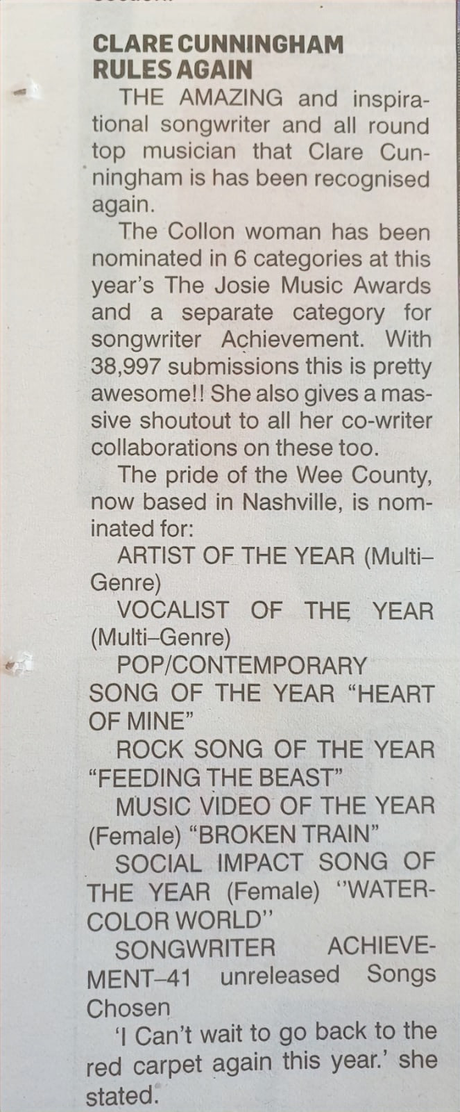 Clare receives support from local newspaper back in Ireland on her recent sucess