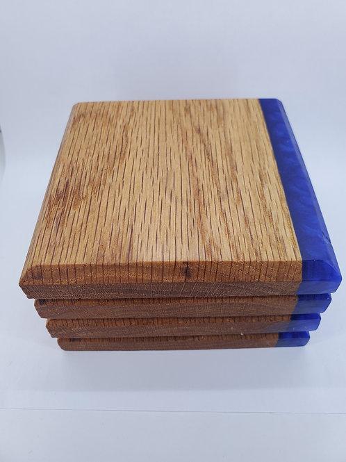 Coasters - Red Oak & Sea Blue Epoxy