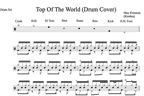 Top Of The World Drum Transcription