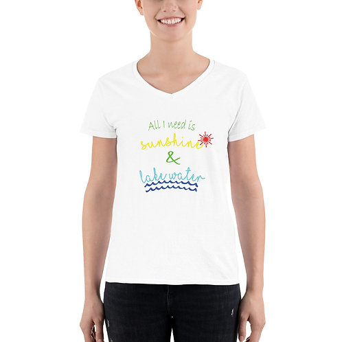 Sunshine and Water Women's Casual V-Neck Shirt