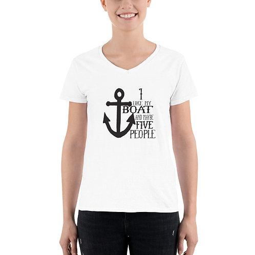 I Like My Boat Women's Casual V-Neck Shirt