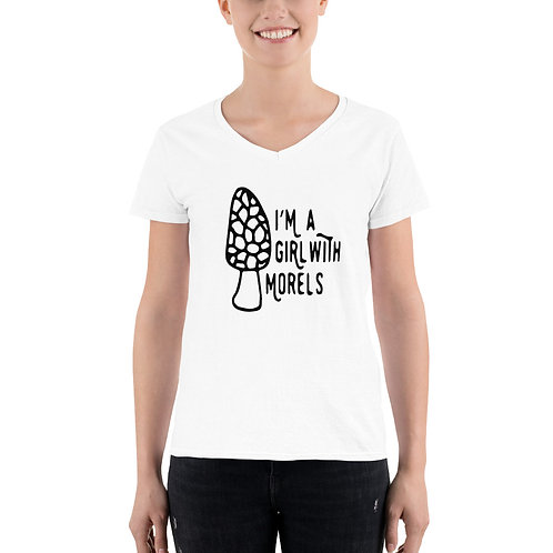 I'm a Girl with Morels Women's Casual V-Neck Shirt