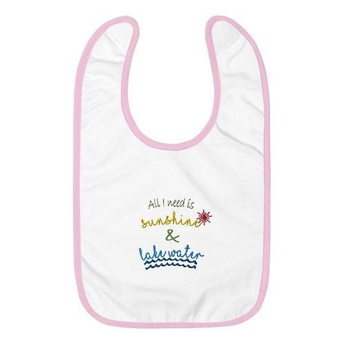 Sunshine and Water Embroidered Baby Bib