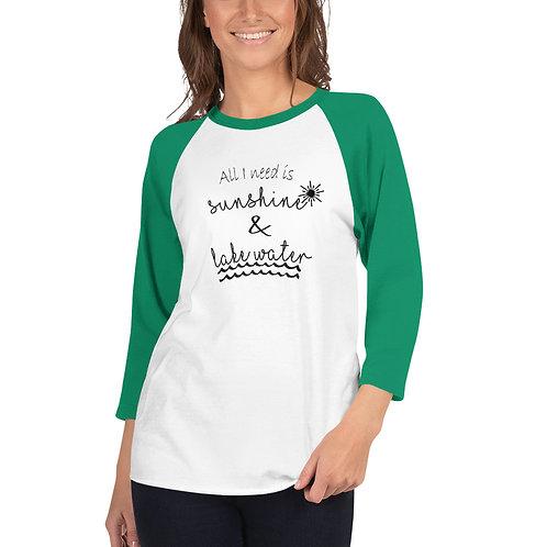 Sunshine and Water 3/4 sleeve raglan shirt