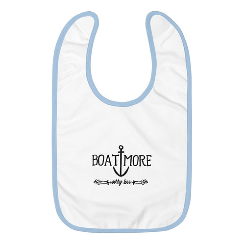 Boat More Embroidered Baby Bib