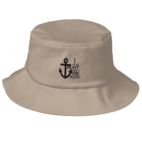 I Like My Boat Old School Bucket Hat