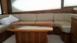 salon in fishbone boat